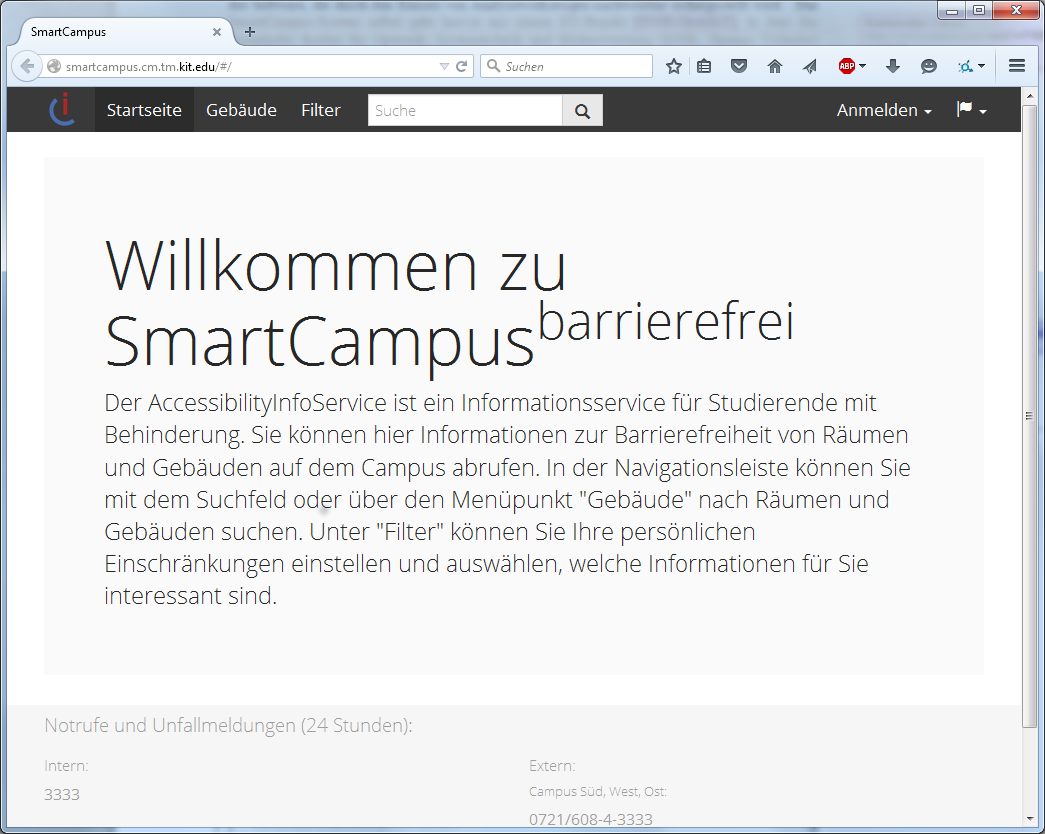 Main page of SmartCampus barrier-free